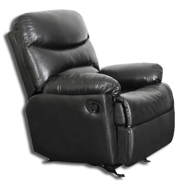 Premium Leatherette Manual Recliner   1 Seater BLACK
